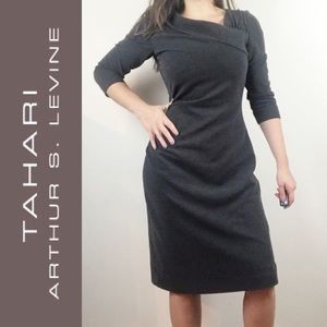 tahari asymmetrical neckline knit dress 3/4 sleeve